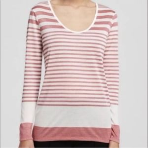 Vince Pink Cream Stripe Long Sleeve Top